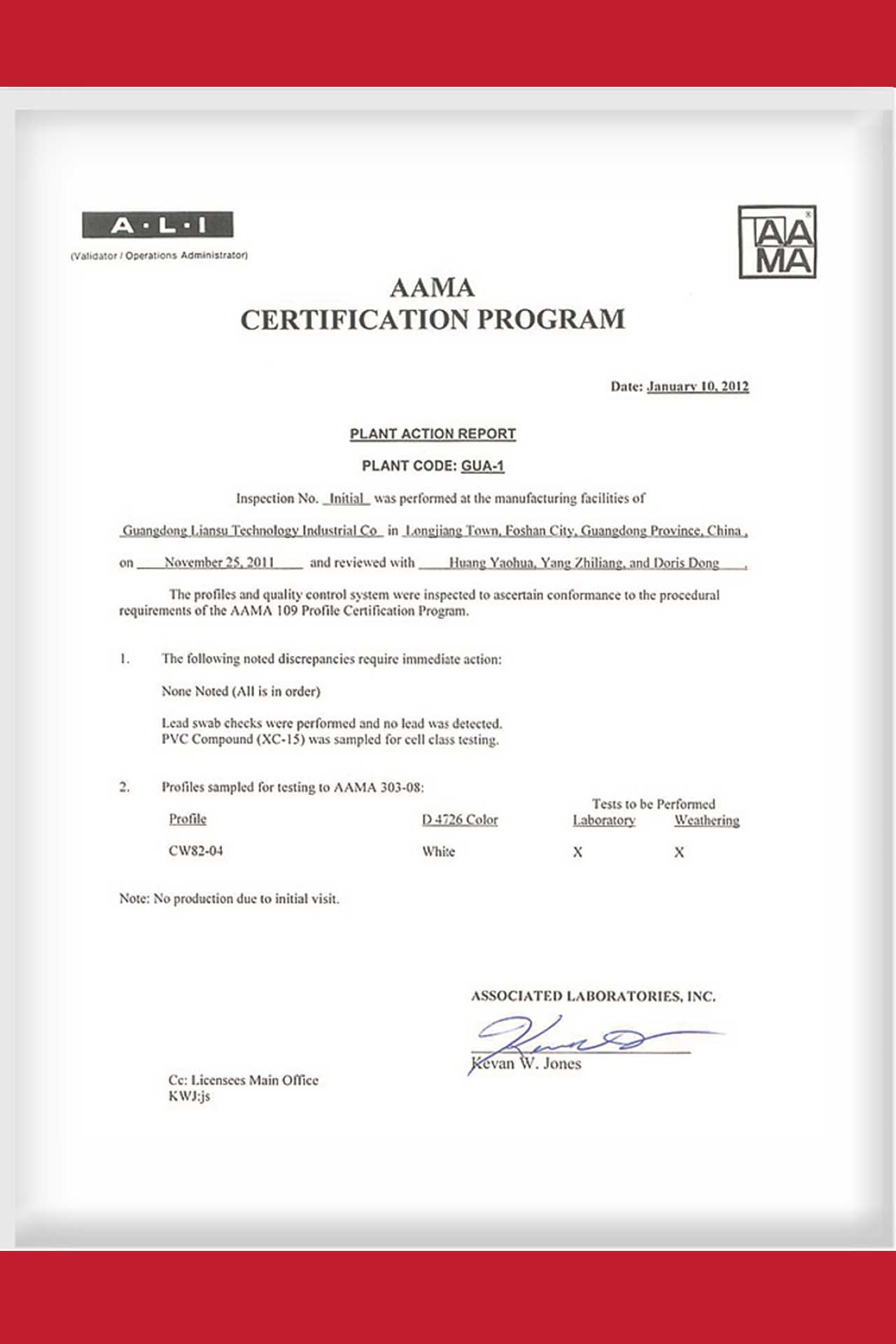 Lesso AAMA Certification